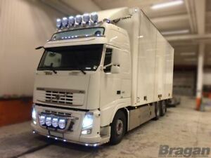 Pour-Volvo-Fh-Serie-2-3-Acier-Inoxydable-Grille-Barre-Lumineuse-A-Rond-Spots