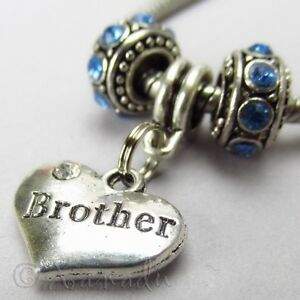 Image Is Loading Brother European Heart Charm And Birthstone Beads For