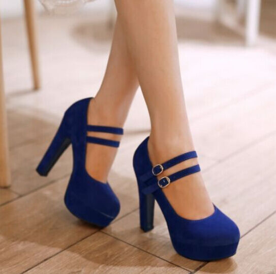 Plus Size Womens chunky high heel platform faux suede buckle strap pumps shoes