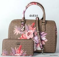 Guess ashville Brown/multi Floral Box Satchel Purse With Wallet