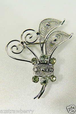 VINTAGE AMLEE STERLING SILVER CLEAR CRYSTAL PIN BROOCH