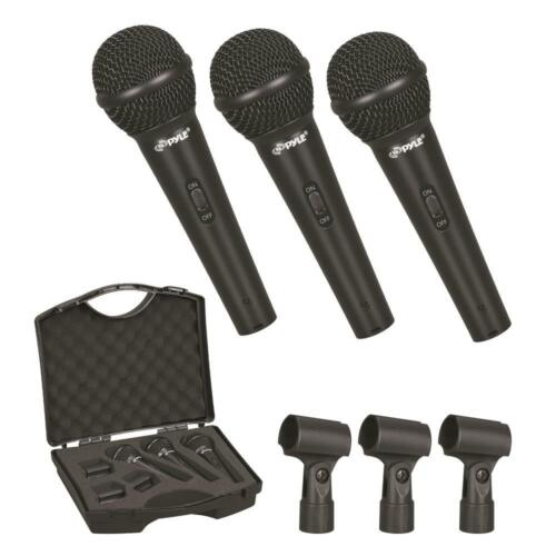 New Pyle PDMICKT80 Dynamic Cardioid Vocal Microphones With Clips 3-Pack Set