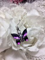 Butterfly Purple Lavender Stainless Cremation Urn W/funnel Necklace Ash Jewelry
