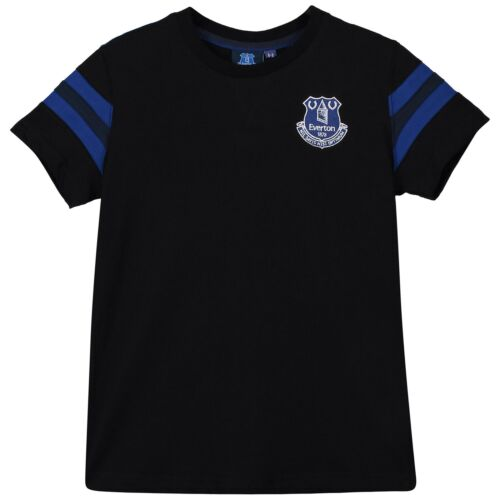 Everton Core Basic T Shirt Tee Top Stripe Black Football Junior Boys