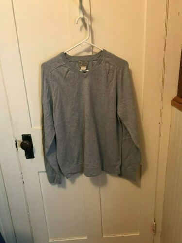 LL BEAN V NECK SWEATER GRAY SIZE LARGE