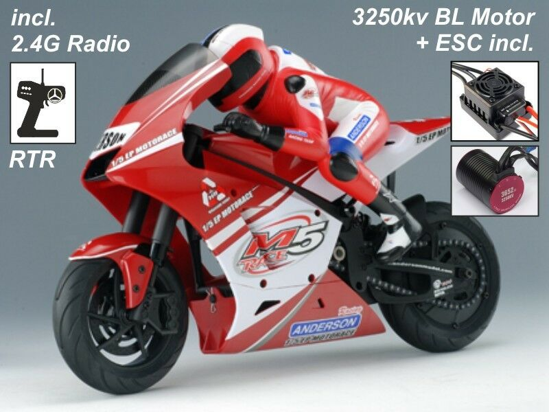 Anderson 1/5 EP motorace RC moto bici RTR - 2.4ghz + 3250kv BRUSHLESS-Rosso