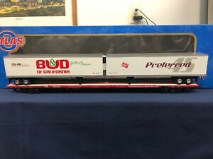 Atlas-034-O-034-Providence-amp-Worcester-89-039-4-034-Flat-Car-w-2-45-039-Pine-Trailers-6972-4