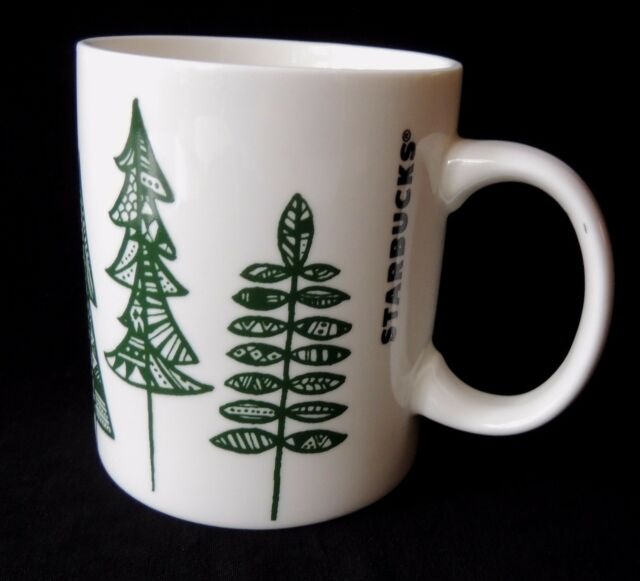 Starbucks Coffee Mug 2015 White Green Trees Holiday Cocoa Geometric Cup 12 oz
