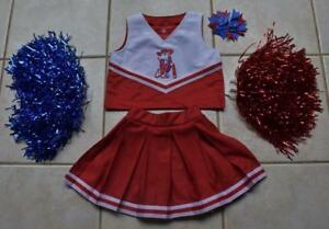699440b70 OLE MISS REBELS MISSISSIPPI CHEERLEADER OUTFIT COSTUME 2 POM POMS ...