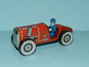 New In Box Shrink-Proof Retro Repro Small Measures 13cm In Length Orderly Tin Clockwork Racing Car