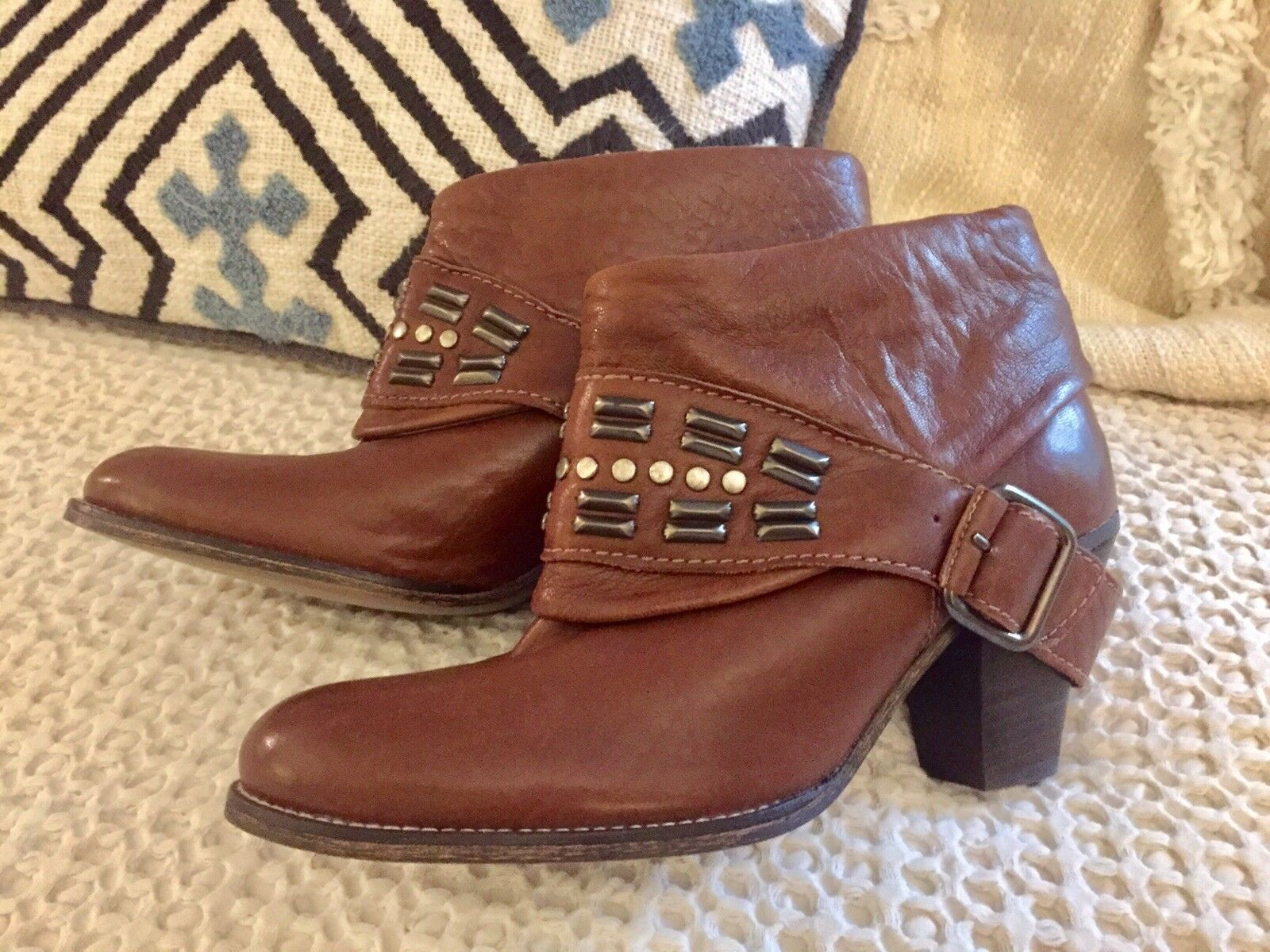 Zara Cognac Soft Supple Buttery Leather Harness Embellished Booties 39