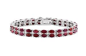 18.65 Ct Ovale Cut Red Ruby /& Sapphire Tennis Bracelet 14K Or Blanc Sur Argent