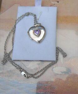 Collier chaine + médaillon coeur ancien argent et améthyste