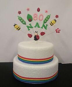 Wondrous Nature Lady Bird Bug Bee Flower Garden Birthday Cake Topper Personalised Birthday Cards Cominlily Jamesorg