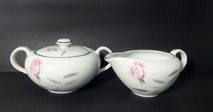 VTG-MCM-Knight-Crest-Fine-Porcelain-Creamer-amp-Sugar-Bowl-Platinum-Trim-Japan