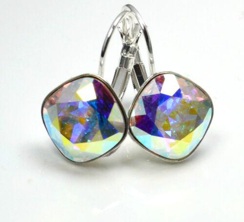 CRISTAL AB Cristales de Swarovski ® 12 mm Pendientes de Plata Plateado Sheena