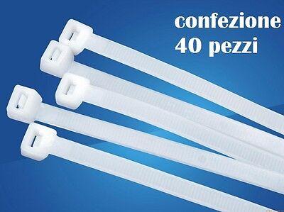 Set 40 Pezzi Fascette Nylon Stringenti Plastica Cavi 3.6x300mm hsb