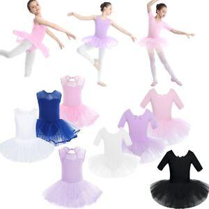 Kids Girls Dance Ballet Gymnastics Bodysuit Leotard Tops Suit Dancewear Costumes