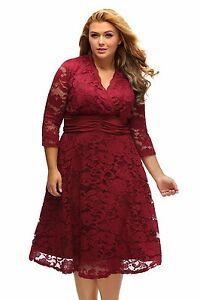 Plus-Size-XXL-XXXL-V-Neck-Vintage-Lace-Party-Dress-Women-Evening-Gown-Maxi-Dress