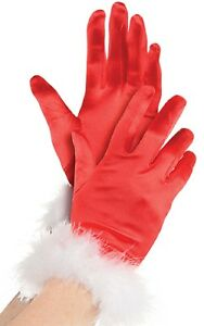 SANTA GLOVES CHRISTMAS FANCY DRESS ACCESSORY LADIES FATHER CHRISTMAS GLOVES