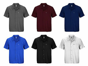 Adidas mens button down short sleeve casual camp polo for Top mens button down shirts