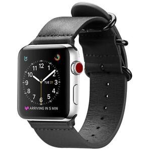 For Iwatch Apple Watch Series 3 2 1 42mm Genuine Leather Wrist Band Strap Black Ebay