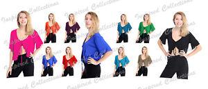Womens-Short-Sleeve-Ladies-Frill-Tie-Cropped-Cardigan-Bolero-Shrug-Top-Plus-Size