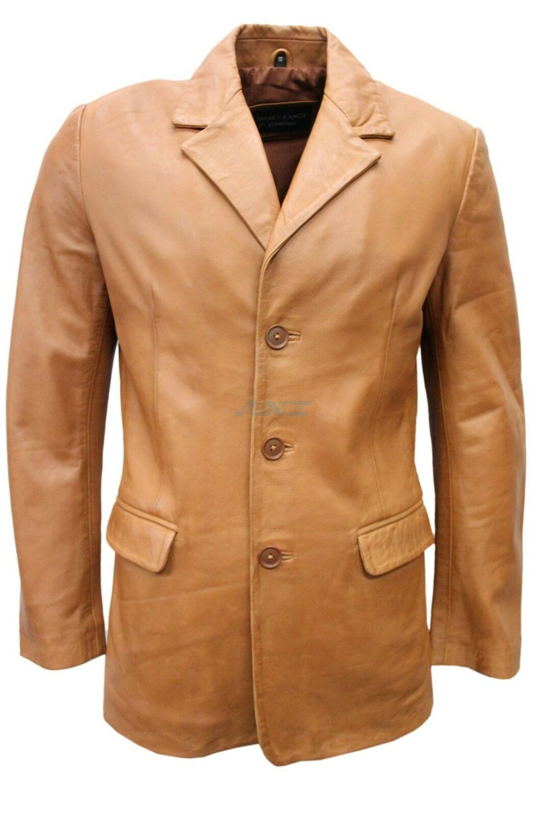 Slim Jim 2 Tan Napa Stylish Classic Soft Italian Soft Lambskin Leather Blazer