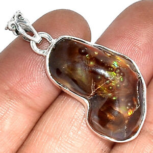 Mexican-Fire-Agate-925-Silver-Pendant-Jewelry-PP144094