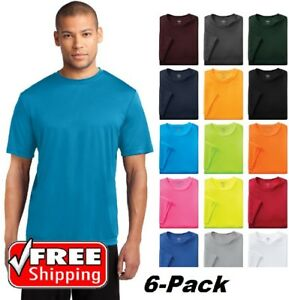 Details about 6 PACK Short Sleeve Performance T-Shirt Moisture Wicking Mens  Dri-Fit Tee PC380