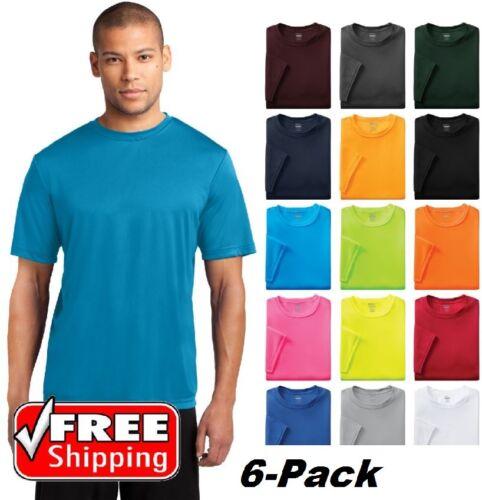 6 Pack Short Sleeve Performance T-Shirt Moisture Wicking Mens Dri-Fit Tee PC380
