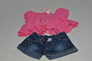 Build A Bear Clothing~Ruffly Pink Shirt With Sequins~Blue Denim Shorts~2 Bows~G5