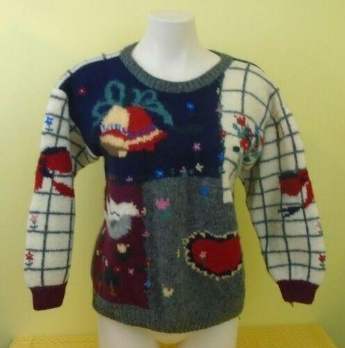 formato vintage a lana a da lunghe donna lunghe maniche per m donna maniche in brutto Maglione S0wX6S