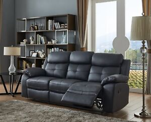 Details about Black High Grade Leather 3 Seater Reclining Recliner Sofa  CHICAGO