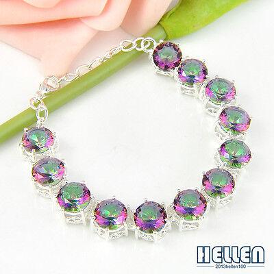 Wedding Gift ! Luxury Natural Rainbow Mystical Topaz Gemstone Silver Bracelet