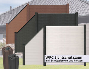 Wpc Bpc Sichtschutzzaun Schragelement Windschutz Lamellenzaun Zaun