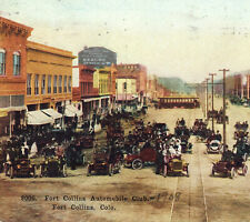 Old Town Fort Collins Automobile Club 1911 Trolley Street View Colorado PostCard