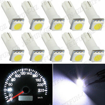10x T5 White Dashboard Gauge 1SMD LED Wedge Instrument Panel Light Bulb 58 70 74