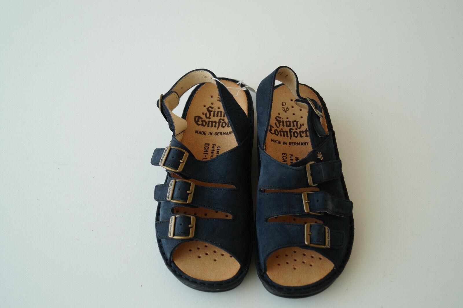 Finn Comfort Föhr Summer shoes Sandals Leather M Insoles Gr.36 Nubuck Navy New