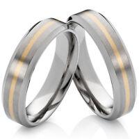 Eheringe Verlobungsringe aus Titan und 585 Gold und Ring Gravur Gratis   TG173
