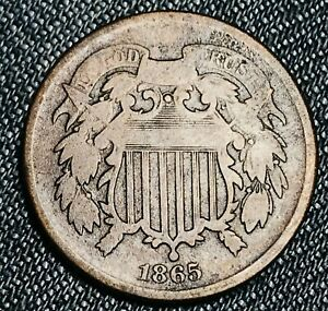 1865 Two Cent Piece 2C Higher Grade Good Civil War Date US Copper Coin CC5041