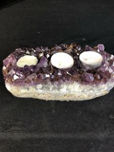 7-Candle-Holder-Amethyst-Crystal-Quartz-Natural-Cluster-Specimen-Brazil
