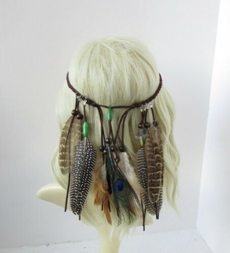 Native American Red Indian Feather Headdress Headpiece Brown War Bonnet 6316