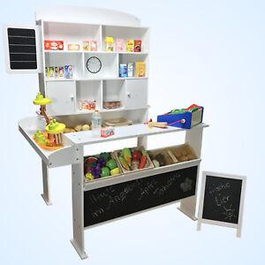kaufmannsladen mit tafel kundenstopper wei kaufladen kinder verkaufsstand holz ebay. Black Bedroom Furniture Sets. Home Design Ideas