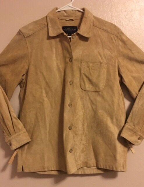 Woherren  Leather Shirt  Golden Bear  Größe S  Long Sleeve  Button Front Made USA