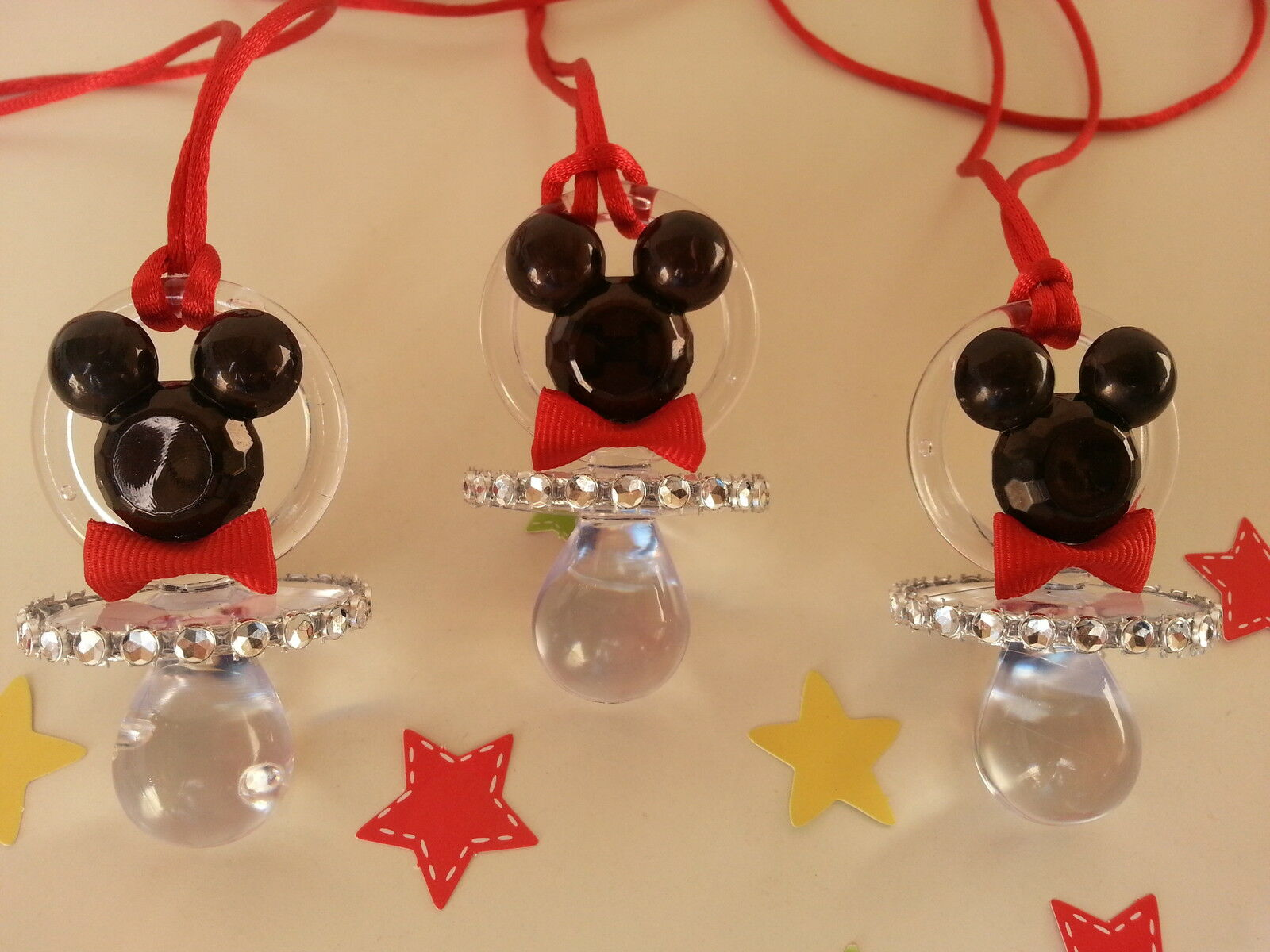 12 mickey mouse pacifier necklaces baby shower game favors prizes boy