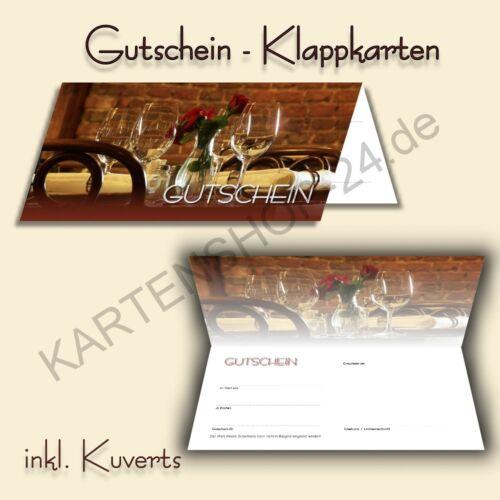 100 Gutscheinkarten Klappkarten Gutscheine Restaurant Gastronomie inkl Kuverts