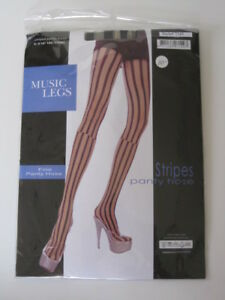 *Cute Black Sheer Broken Striped Striped Pantyhose Gothic Anime Club S M L
