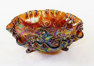 Vintage-3-Footed-Glass-Bowl-Imperial-034-Lustre-Rose-034-Pattern-Iridescent-Amethyst