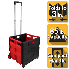 Pack N Roll Portable 18 In Plastic Utility Cart In Black Red Lightweight Durable
